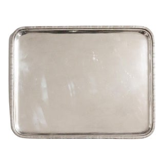 Early 20th Century Silver Rectangle Serving Tray For Sale