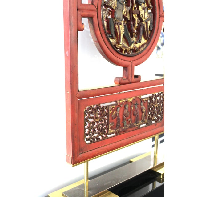 Asian Modern Lacquer Screen Element Mounted on Stand Attributed to Karl Springer For Sale In New York - Image 6 of 13