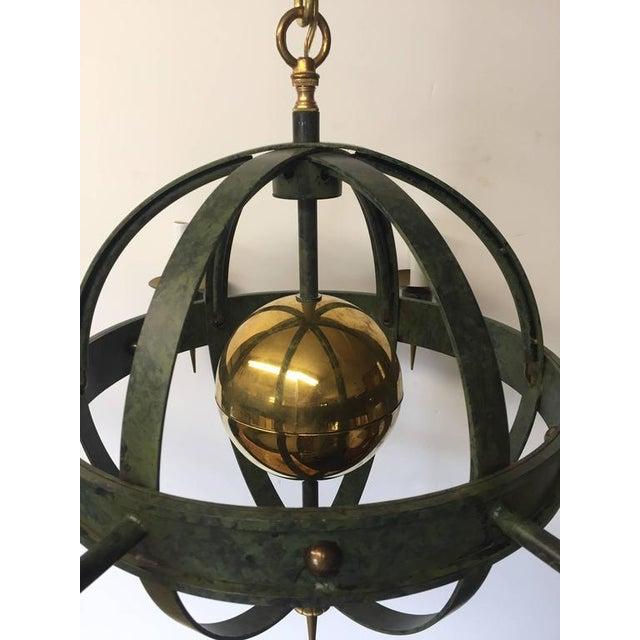 Vintage Spherical Iron and Brass Sputnik Chandelier - Image 4 of 4