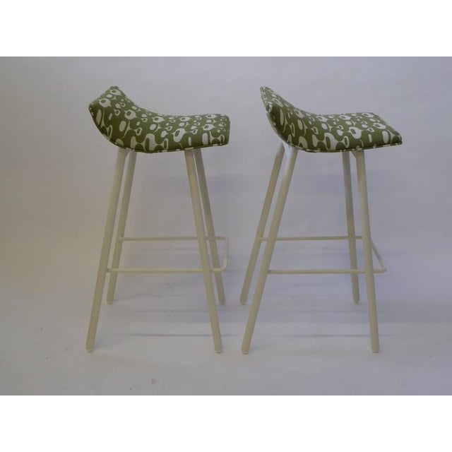 Pair of 1950s Mid-Century Modern Curved Seat Bar Stools For Sale In Miami - Image 6 of 10