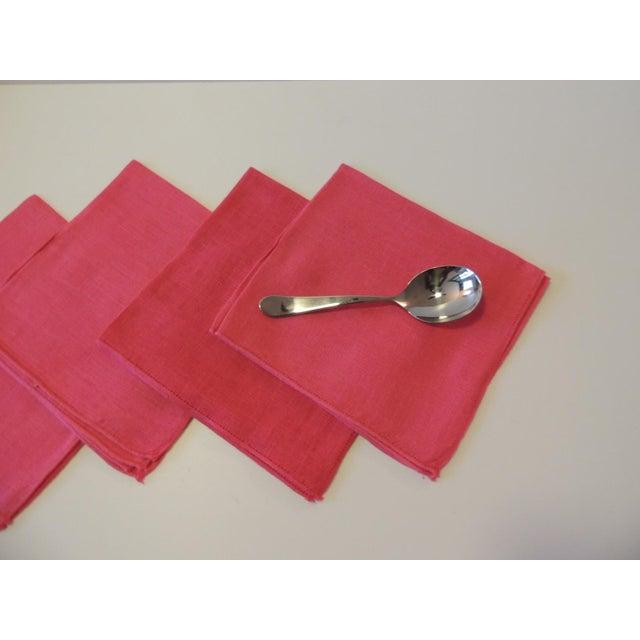 Modern Vintage Set of (4) Linen Fuchsia Napkins For Sale - Image 3 of 6