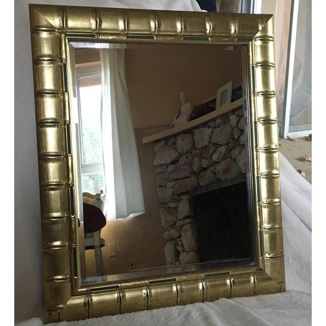 Gold Bamboo Beveled Mirror, Hollywood Regency - Image 2 of 6