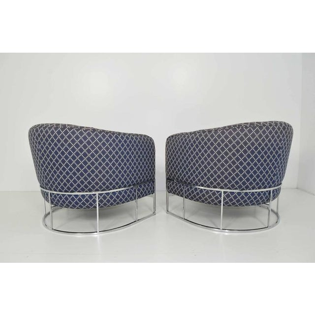 Unique Pair of Milo Baughman/Thayer Coggin Lounge Chairs with Chrome Frame - Image 2 of 7