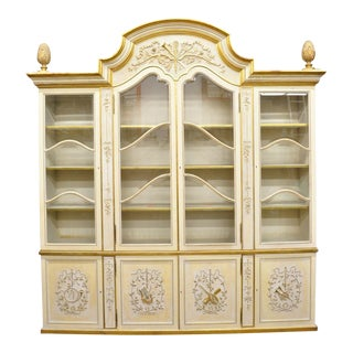 Italian Regency Cream and Gold Gilt Breakfront China Cabinet For Sale