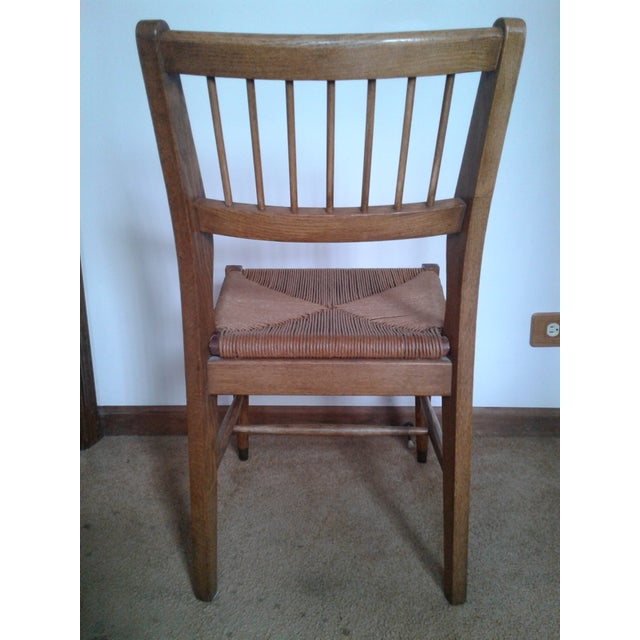 Mid 20th Century Mid-Century Modern Rush and Hardwood Side Chair For Sale - Image 5 of 12
