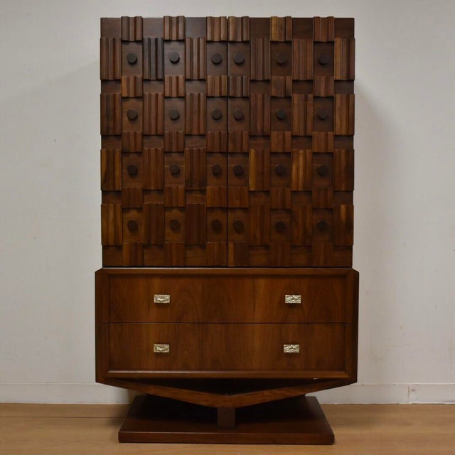 Brutalist Walnut Armoire - Image 2 of 11
