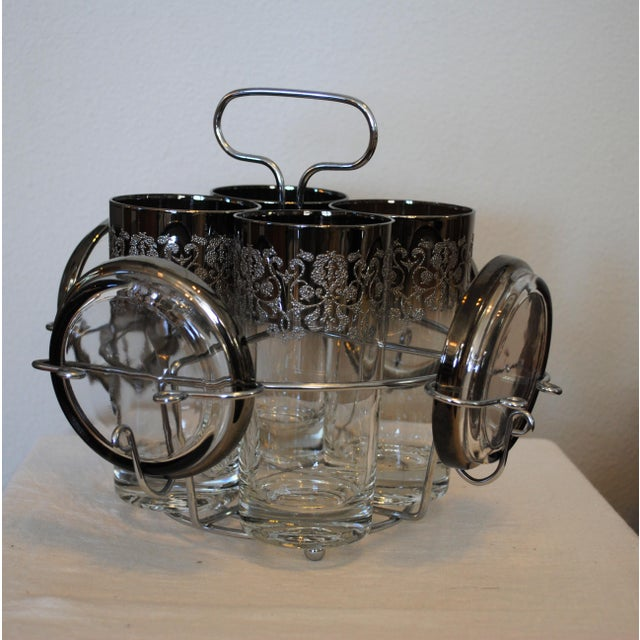 1940s 1940s Vintage Kimko Silver High Ball Glasses & Coasters with Caddy - Set of 4 For Sale - Image 5 of 5