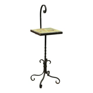 Antique Arts & Crafts Wrought Iron Ceramic Tile Top Side Table Smoking Stand For Sale