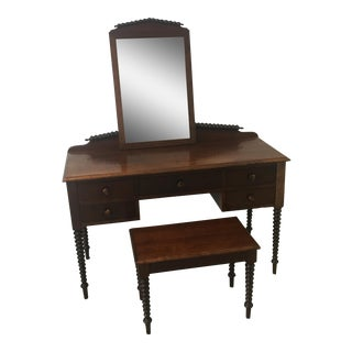 Antique Spindle Desk With Bench & Mirror - A Pair