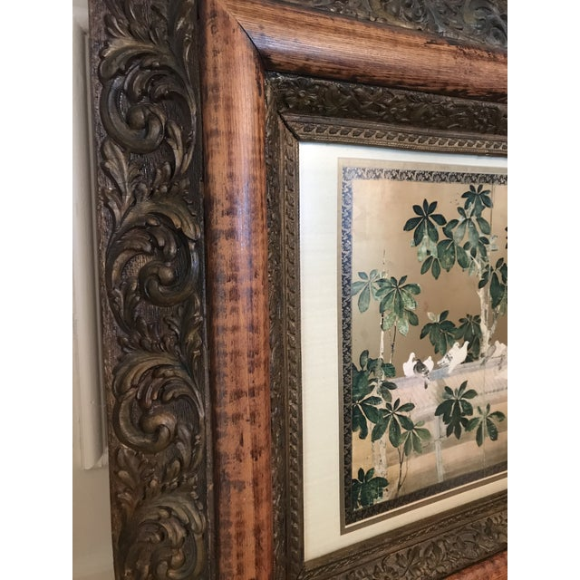 Antique Chinoiserie Panel Print in Wooden Frame For Sale - Image 10 of 13