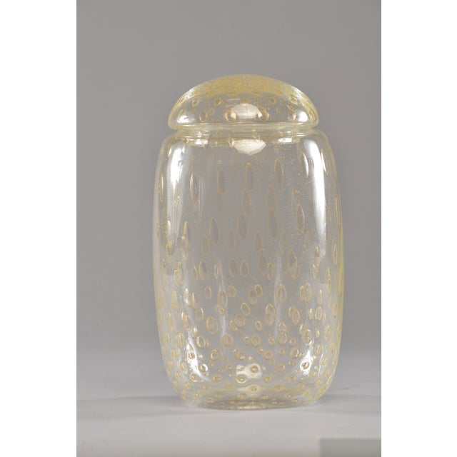 Metal Murano Glass Lidded Vessel With Gold Inclusions For Sale - Image 7 of 8