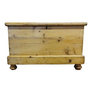 19th Century English Bleached Pine Small Trunk For Sale