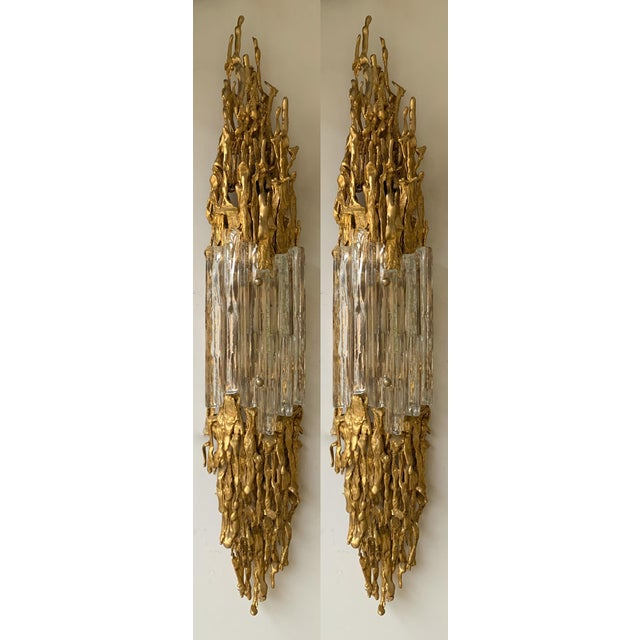 Pair of Bronze Murano Glass Sconces by Claude Victor Boeltz, France, 1970s For Sale - Image 13 of 13
