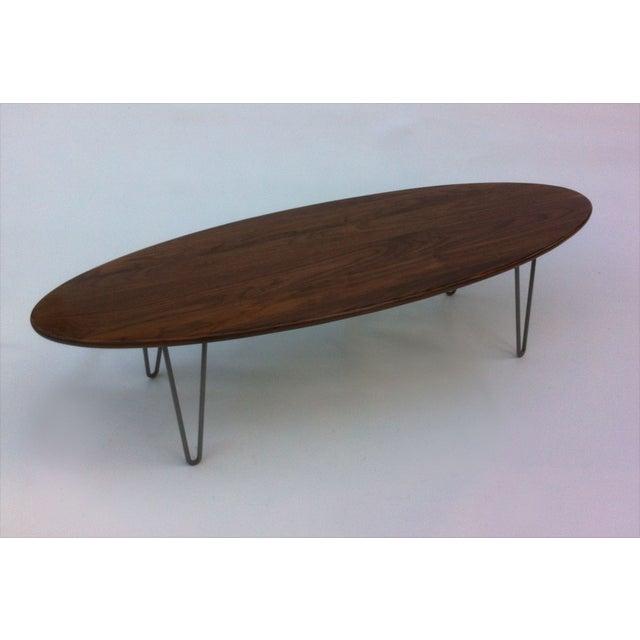Elliptical Surf Board Table Handmade Solid Walnut - Image 3 of 5
