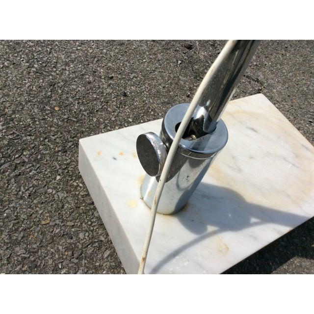 Mid Century Marble Chrome Arc Floor Lamp - Image 9 of 11