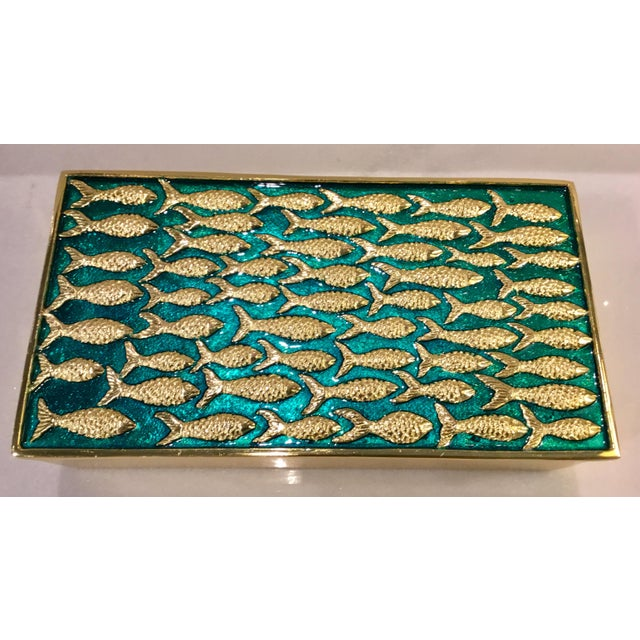 Modern Modern Gold Fish on Turquoise Metal Sea Box For Sale - Image 3 of 5