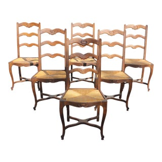 1910s Vintage French Country Rush Seat Solid Walnut Dining Chairs- Set of 6 For Sale