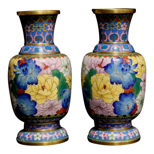 Chinese Bronze Cloisonne Enamel Vases A Pair Chairish