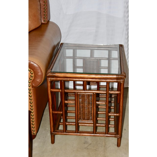 1980s Vintage McGuire Style Bamboo Rattan Glass Top Tables- Set of 3 For Sale - Image 9 of 12
