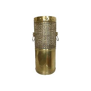 Pierced Brass Umbrella Stand For Sale