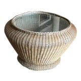 Image of Vintage Boho Chic Round Wicker Rattan and Glass Coffee Table For Sale