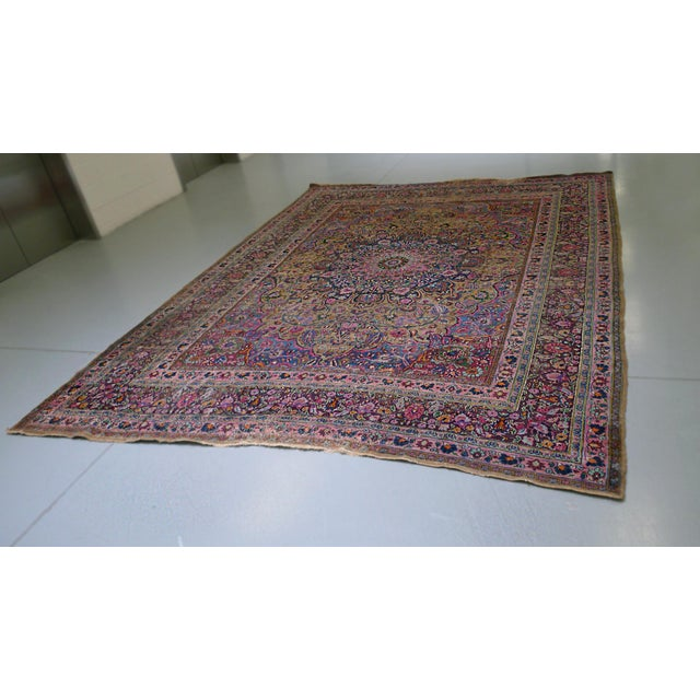 "Islamic 1920s Handwoven Kerman Rug 13' 2"" X 10' 4"" For Sale - Image 3 of 13"