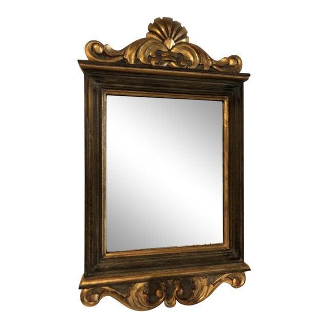 Italian Mirror in Wood Carved Frame With Gesso Accents For Sale