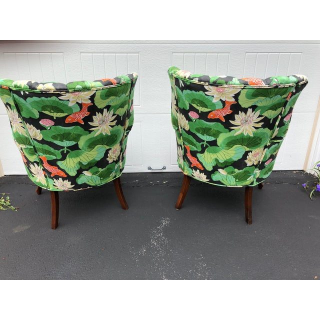 Wood Carved Wood Upholstered Koi Fabric Scallop Back Chairs - Set of 2 For Sale - Image 7 of 8
