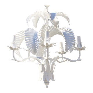 Vintage Palm Beach Style Toleware Palm Frond Chandelier For Sale