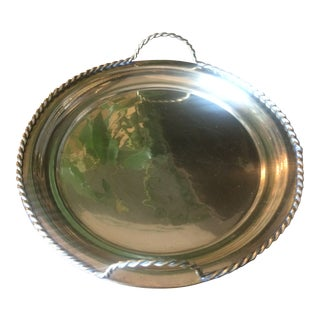 1980s Brass Tray With Handles For Sale