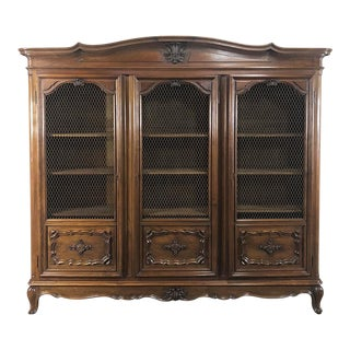 Antique Italian Walnut Piemontese Triple Bookcase For Sale