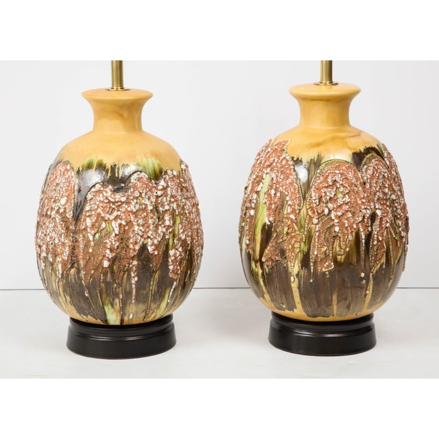 Mid-Century Modern Extra Large Italian Volcanic Glazed Ceramic Lamps - a Pair For Sale - Image 3 of 9
