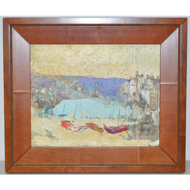 Vintage Harbor Landscape by Listed Artist Delos Small, but mighty oil painting by Delos. Born in Spain in 1937, Delos took...