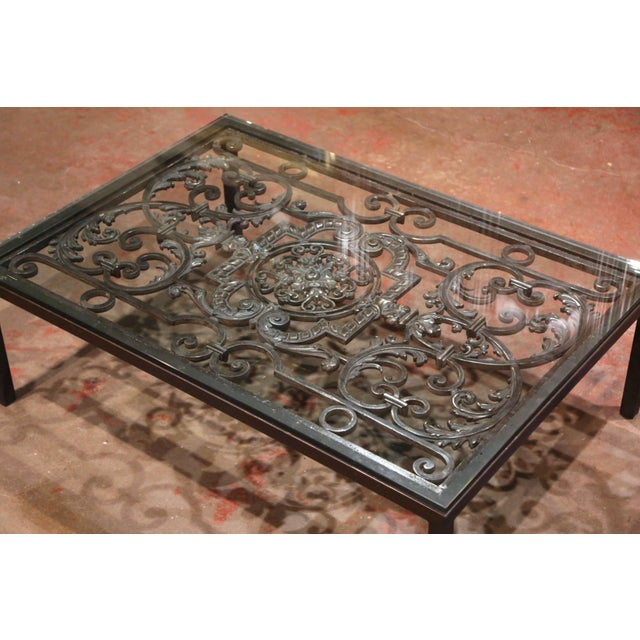 French 18th Century French Forged Iron Balcony Gate Coffee Table With Glass Top For Sale - Image 3 of 7