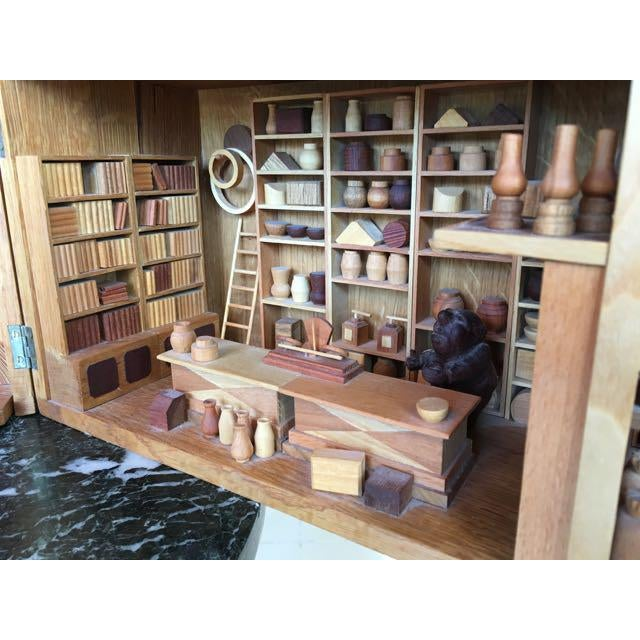 Brown Hand Carved Wood With Marquetry General Store Model Diorama For Sale - Image 8 of 11