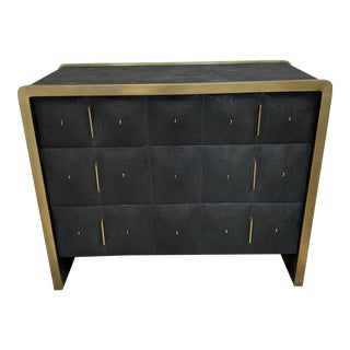 R & Y Augousti Black Stingray and Brass Chest of Drawers For Sale
