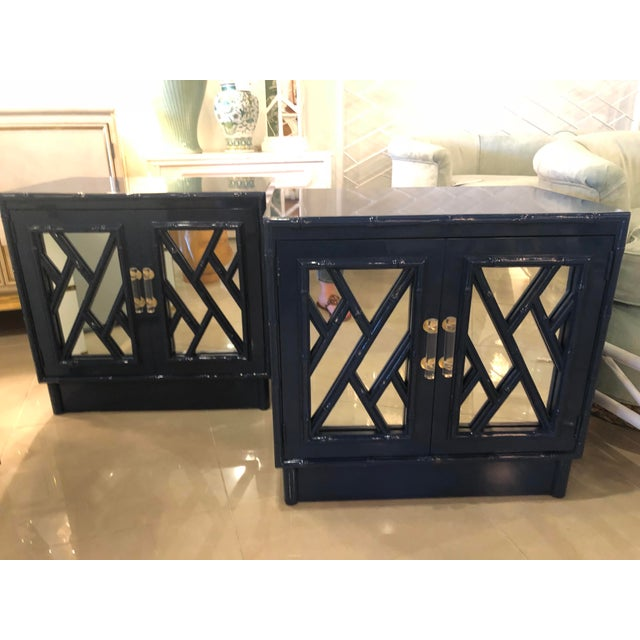 Vintage Chinese Chippendale Navy Lacquered Mirror Lucite Brass Nightstands Chests -A Pair For Sale - Image 13 of 13
