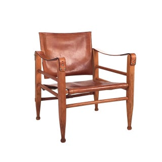 1960s Danish Modern Red Leather Safari Chair For Sale