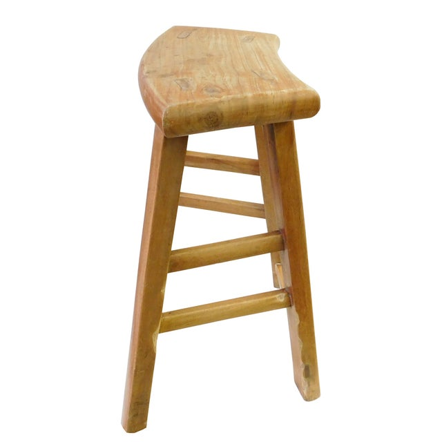 Chinese Rustic Raw Wood Accent Sitting Stool For Sale - Image 5 of 8