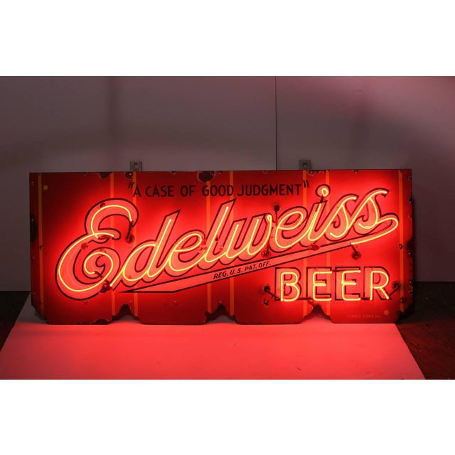 1930s Vintage Porcelain Edelweiss Beer Sign For Sale - Image 4 of 4