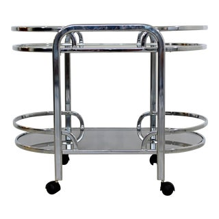 Mid-Century Modern Baughman for Dia Chrome & Smoked Glass Bar Serving Cart 1970s For Sale