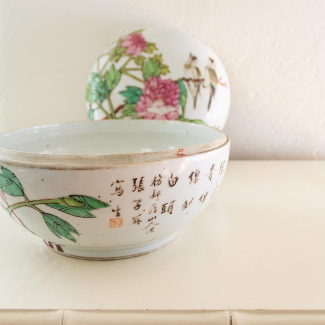 19th C Familly Rose Covered Box | Lidded Food Bowl | Chinese Qing Dynasty For Sale - Image 9 of 12
