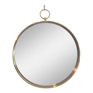 Fornasetti Style Mid Century Brass Mirror For Sale