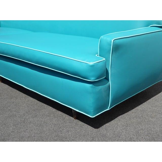 Mid-Century Turquoise Vinyl Sofa - Image 9 of 11