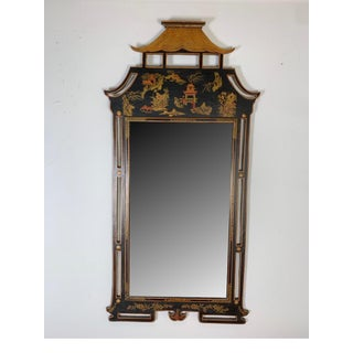 1950s Asian Style Decorative Chinoiserie Hand Painted Mirror Preview
