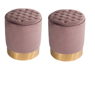 Modern Paulette Mauve and Gold Tufted Stools- A Pair For Sale