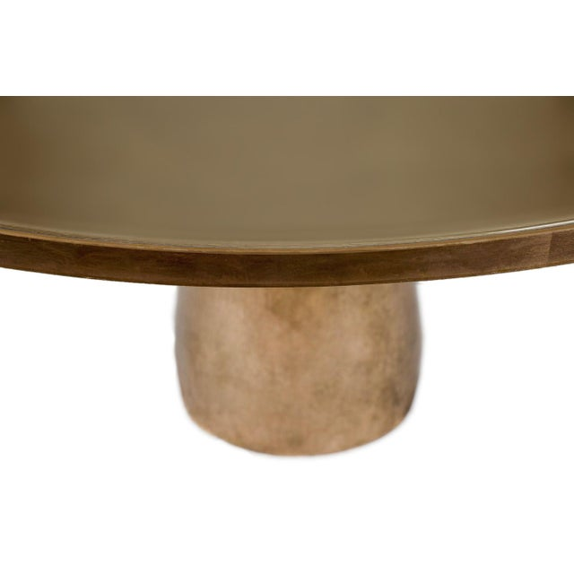 Art Deco Steel and Rose Gold Dining Table For Sale - Image 3 of 4