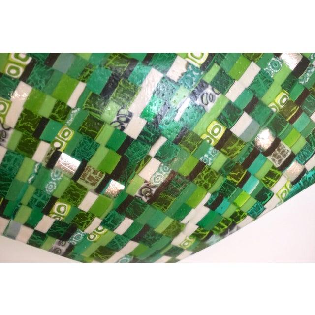 Modern Italian Jewel-Like Green Yellow & 24Kt Gold Murano Art Glass Mosaic Bowl For Sale - Image 4 of 11