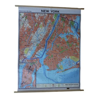 Vintage New York City Wall Map For Sale