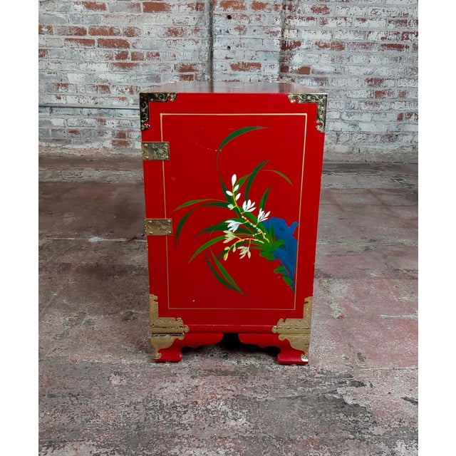 Chinese Beautiful Red Lacquered Commodes -A Pair For Sale - Image 4 of 11